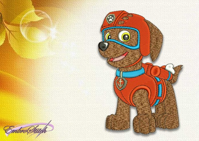 The embroidery design Dog Zuma from Paw patrol