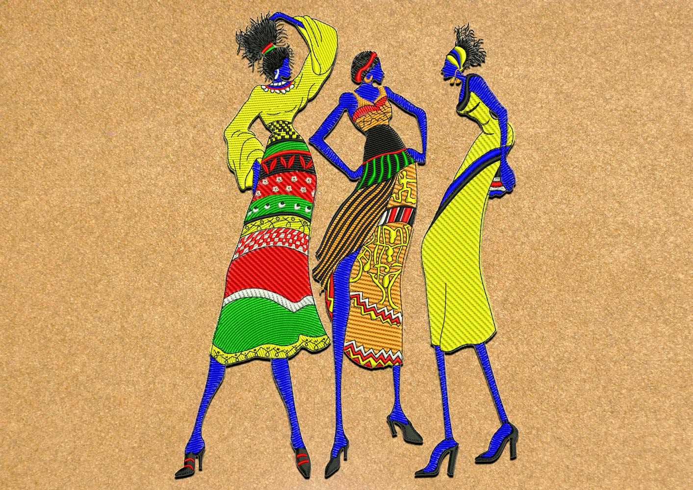 dancing women embroidery design 3 sizes 8 formats embrostitch