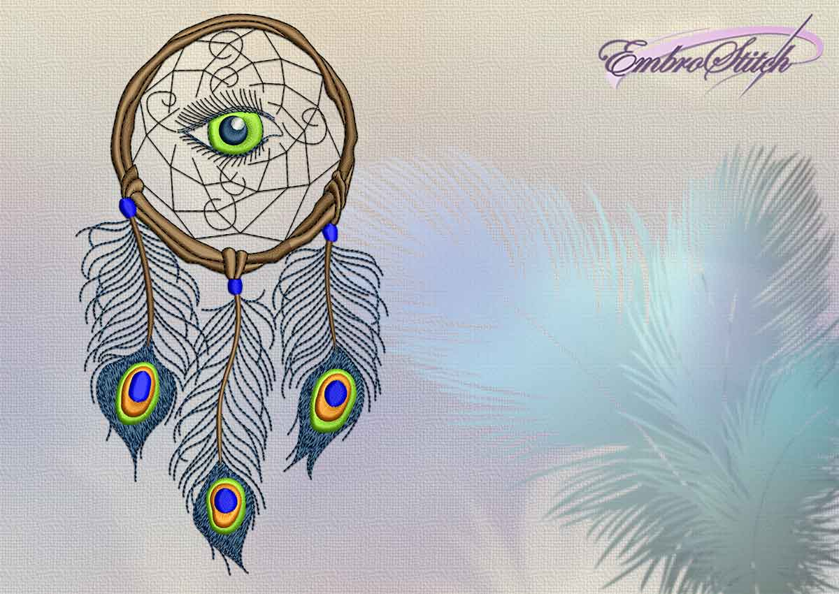 The embroidery design All-seeing dreamcatcher digitized in EmbroStish tudio