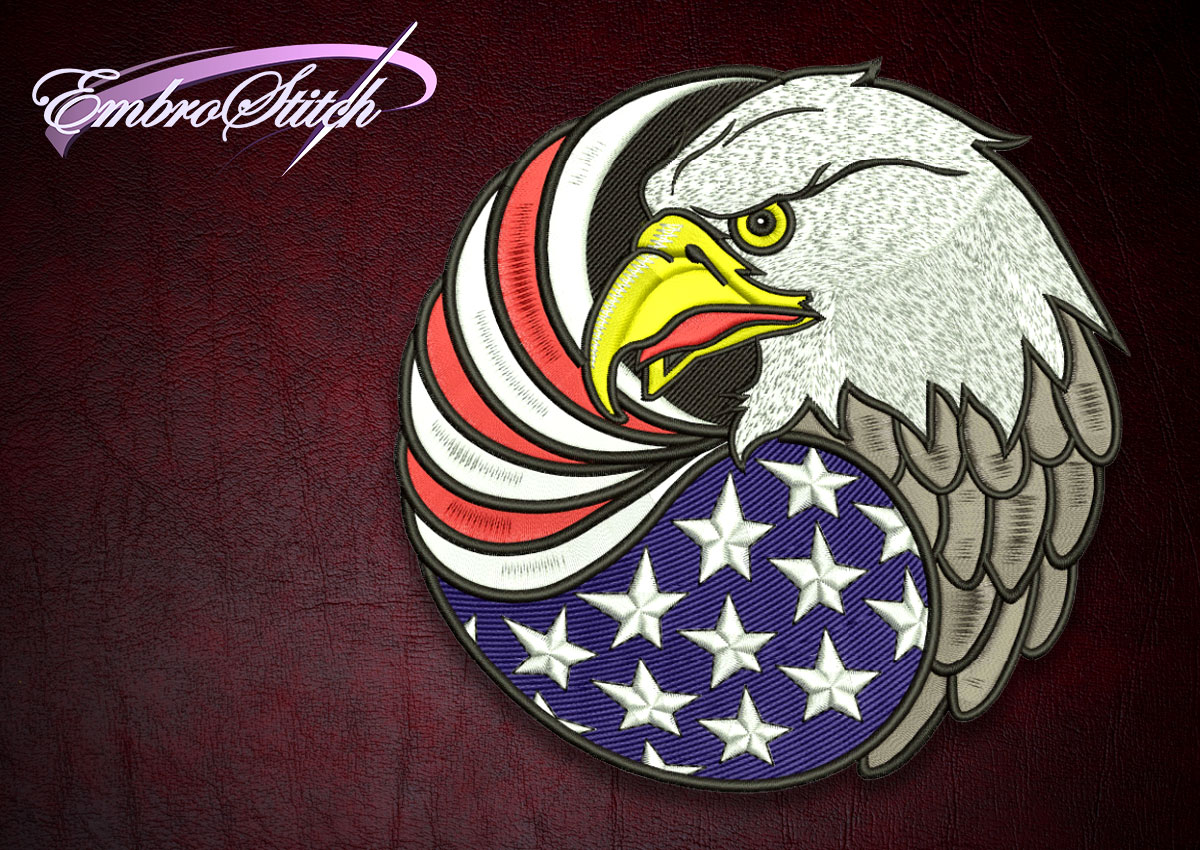 The high quality embroidery design Biker patch American Eagle