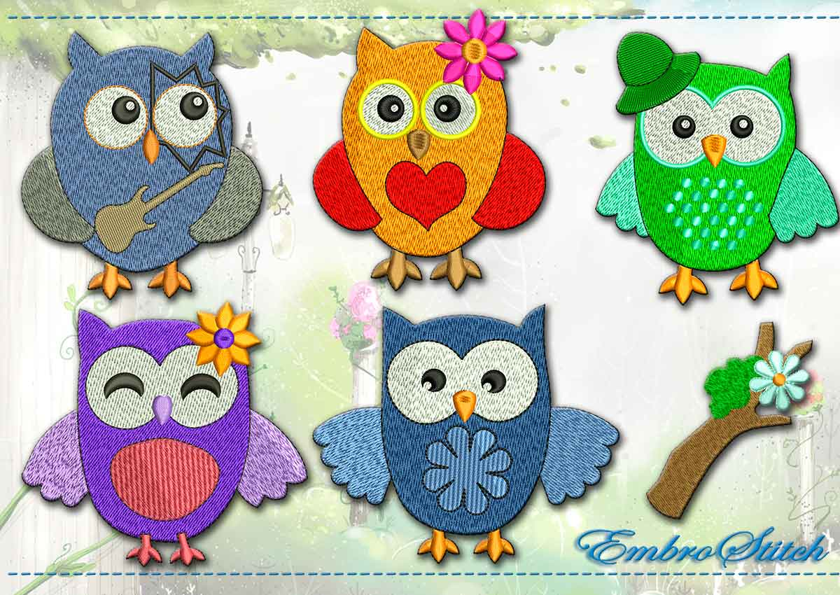 This Amusing Owl Set design was digitized and embroidered by Embrostitch studio