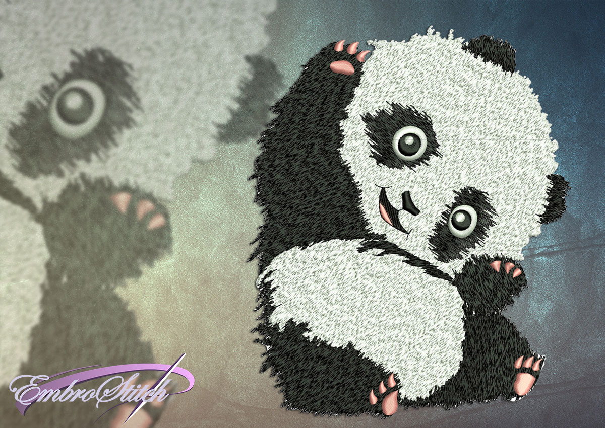 This Amusing Panda design was digitized and embroidered by Embrostitch studio