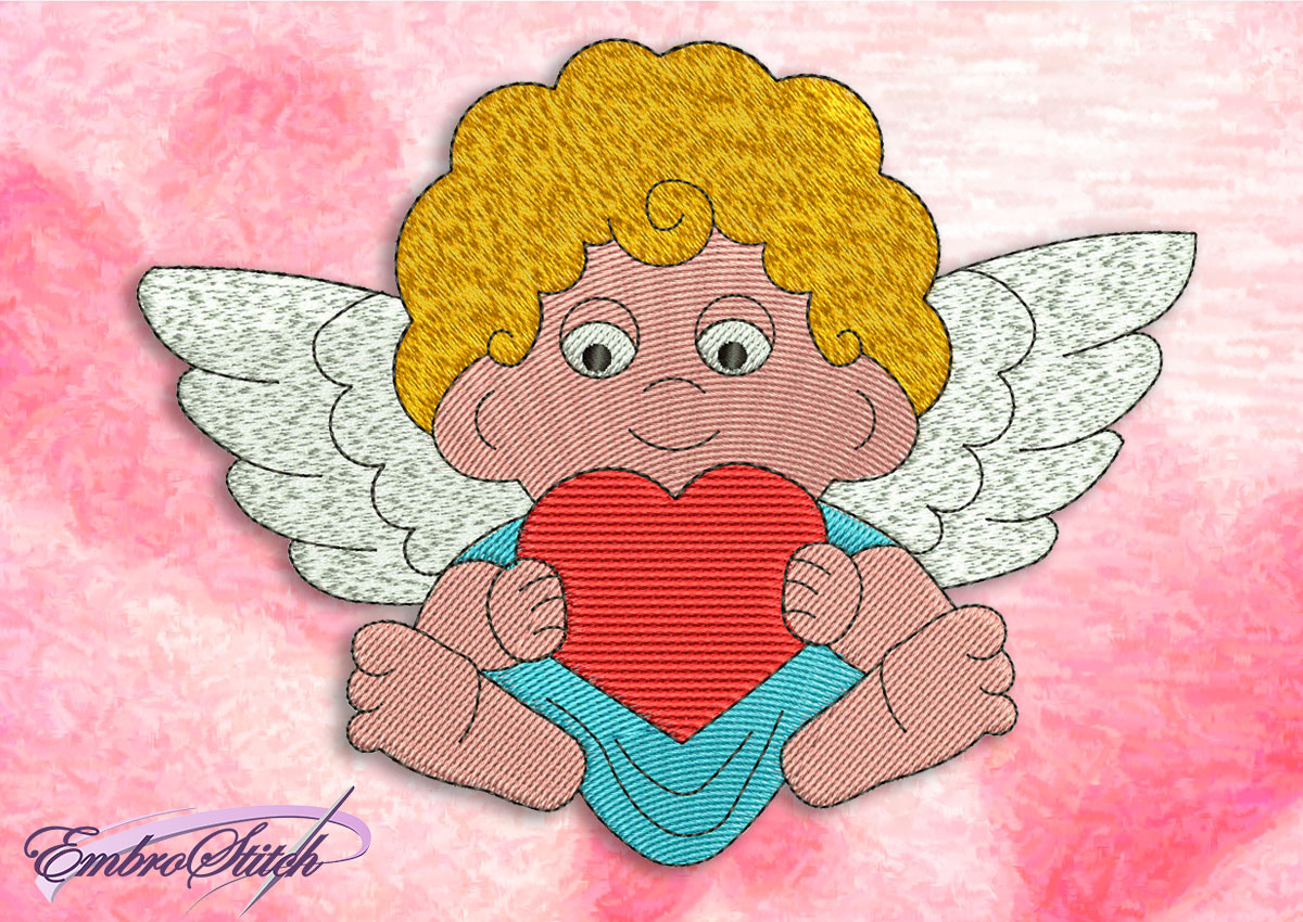 This Angel Heart design was digitized and embroidered by Embrostitch studio