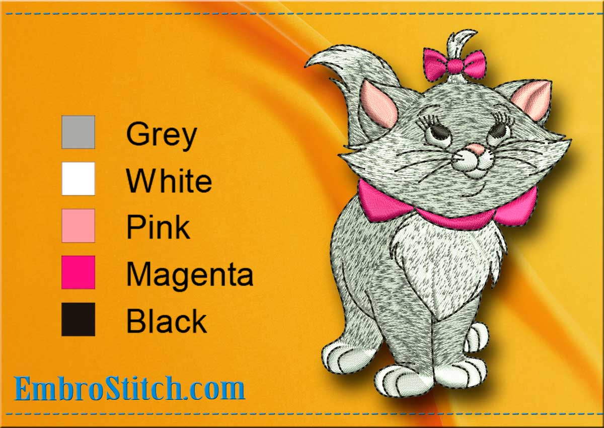 Grey Kittens And Cats Embroidery Designs Pack 1 Collection Of 10