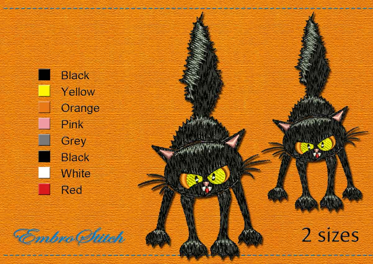 This Angry Cat Halloween design was digitized and embroidered by Embrostitch studio