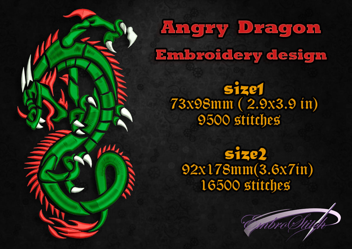This is embroidery design Angry Dragon