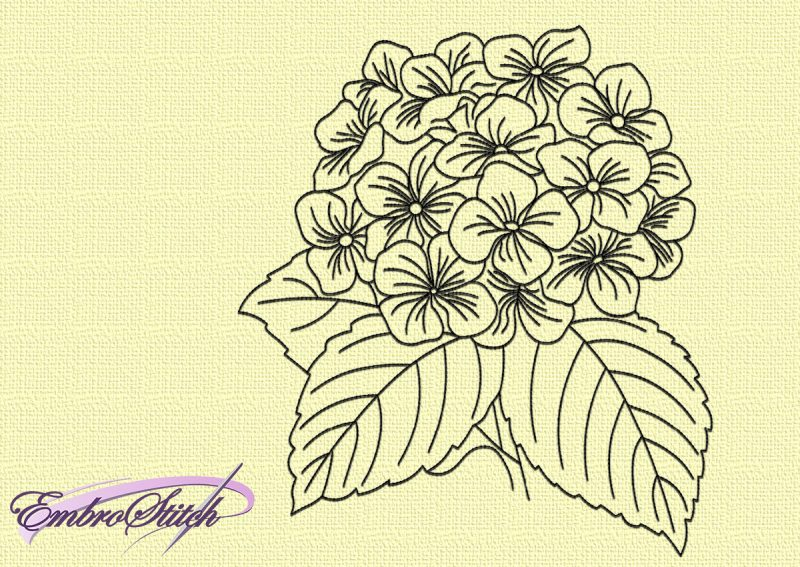 The embroidery design monochromatic Art flowers looks fresh and trendy.