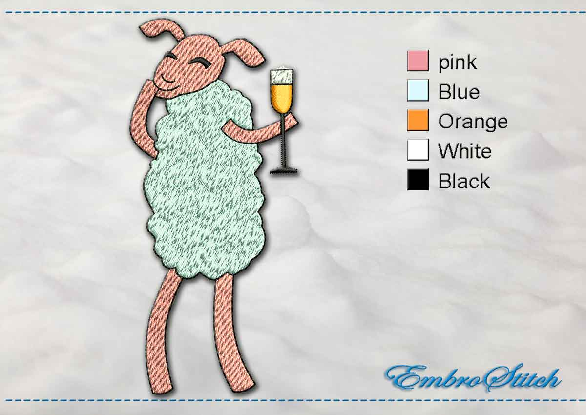 This Baa Lamb Champagne design was digitized and embroidered by Embrostitch studio