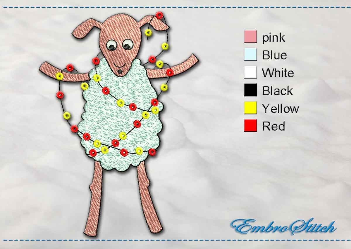This Baa Lamb Garland design was digitized and embroidered by Embrostitch studio