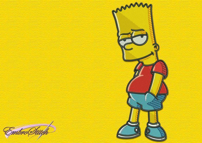 The embroidery design Bart Simpson looks great on different clothes
