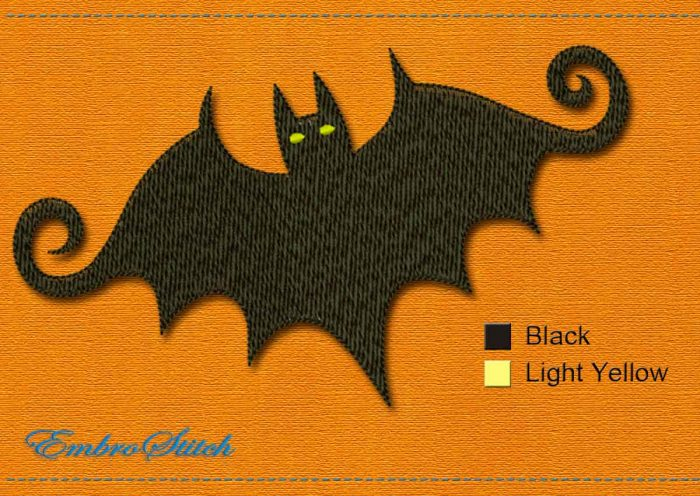 This Bat Halloween design was digitized and embroidered by Embrostitch studio