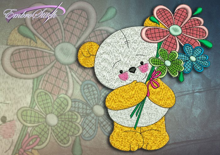 This Bear Cub Bouquet design was digitized and embroidered by Embrostitch studio