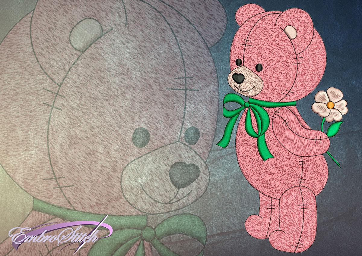 This Bear Gift design was digitized and embroidered by Embrostitch studio