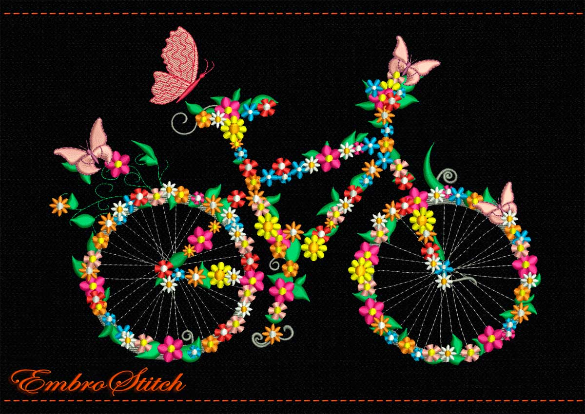 flower bike embroidery design 2 sizes 8 formats embrostitch