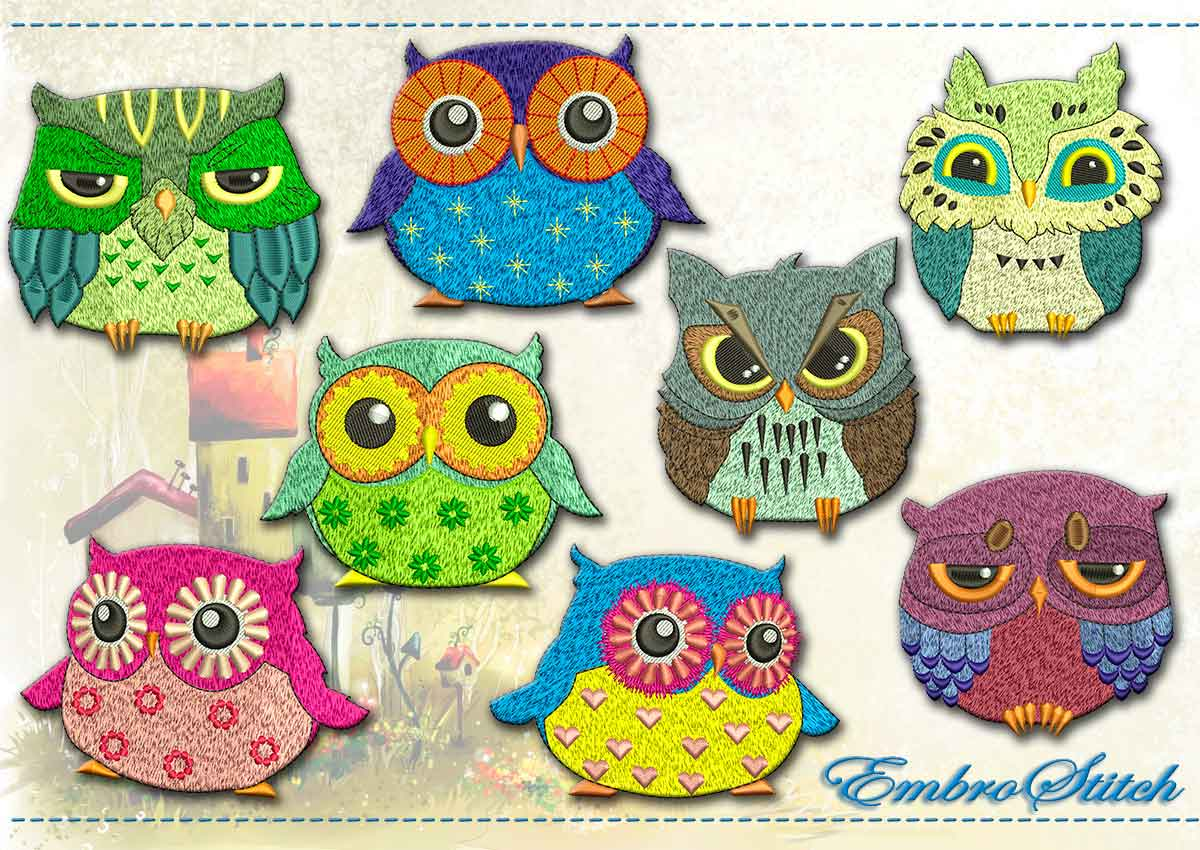 This Big Eyed Owls Set design was digitized and embroidered by Embrostitch studio