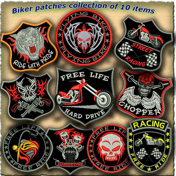Biker Patches Embroidery Designs Pack 3 Collection Of 10