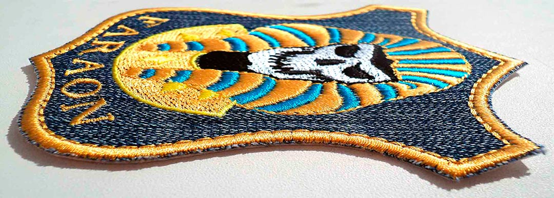 Biker patch embroidery design by Embrostitch