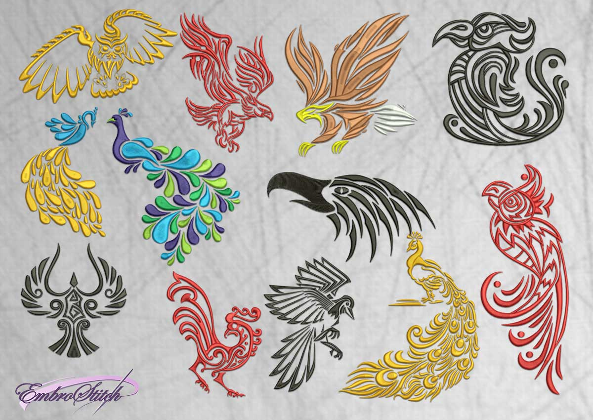 The embroidery design Variations of birds