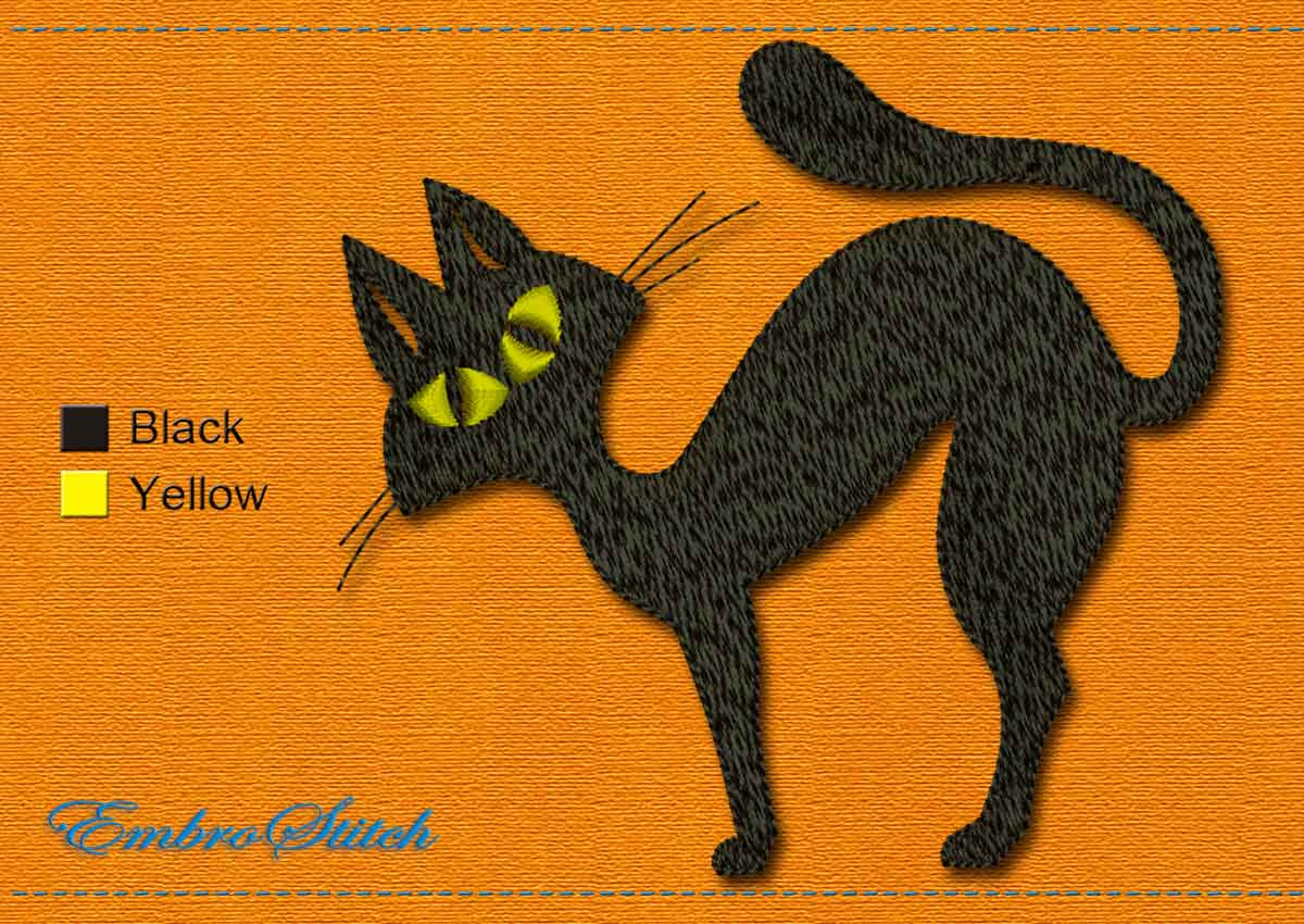 This Black Cat Halloween design was digitized and embroidered by Embrostitch studio