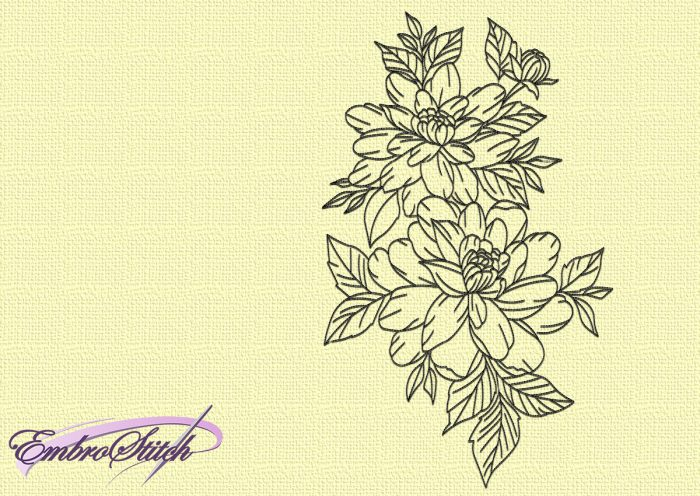 The embroidery design Blossom consists solely of run stitching elements.
