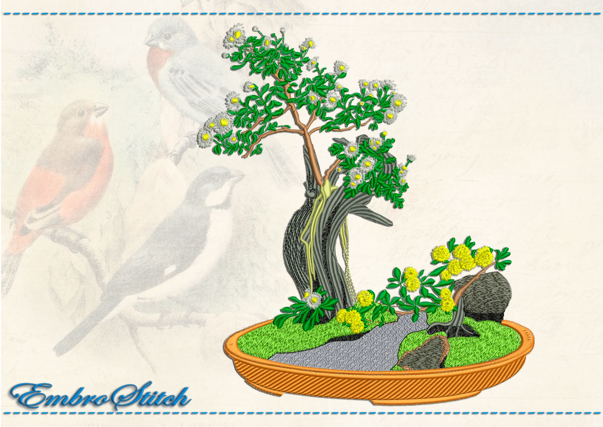This Bonsai Oak design was digitized and embroidered by Embrostitch studio