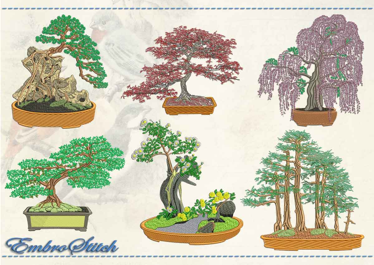 This Bonsai Set design was digitized and embroidered by Embrostitch studio