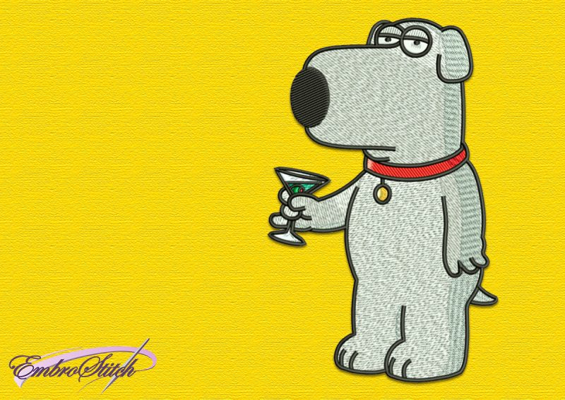 The embroidery design Brian family guy depicts Brian holding a glass in his paw