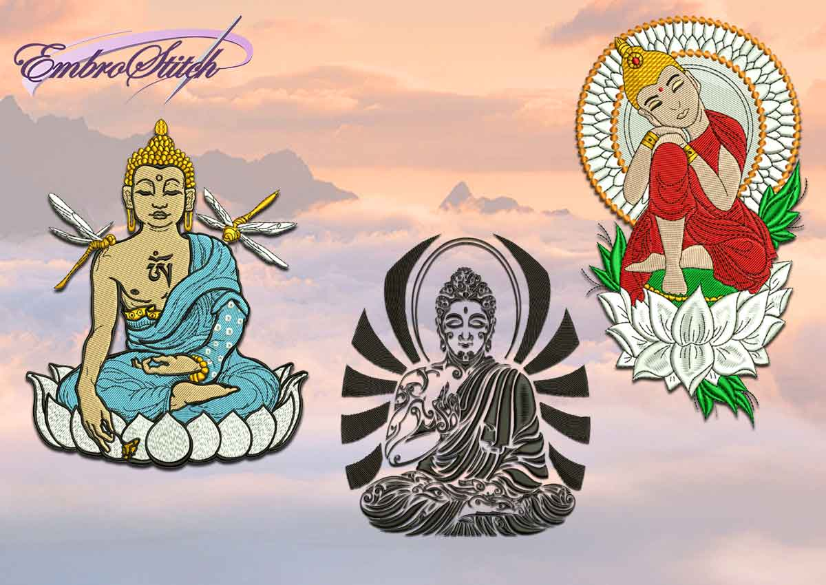 The pack of embroidery design Buddhas