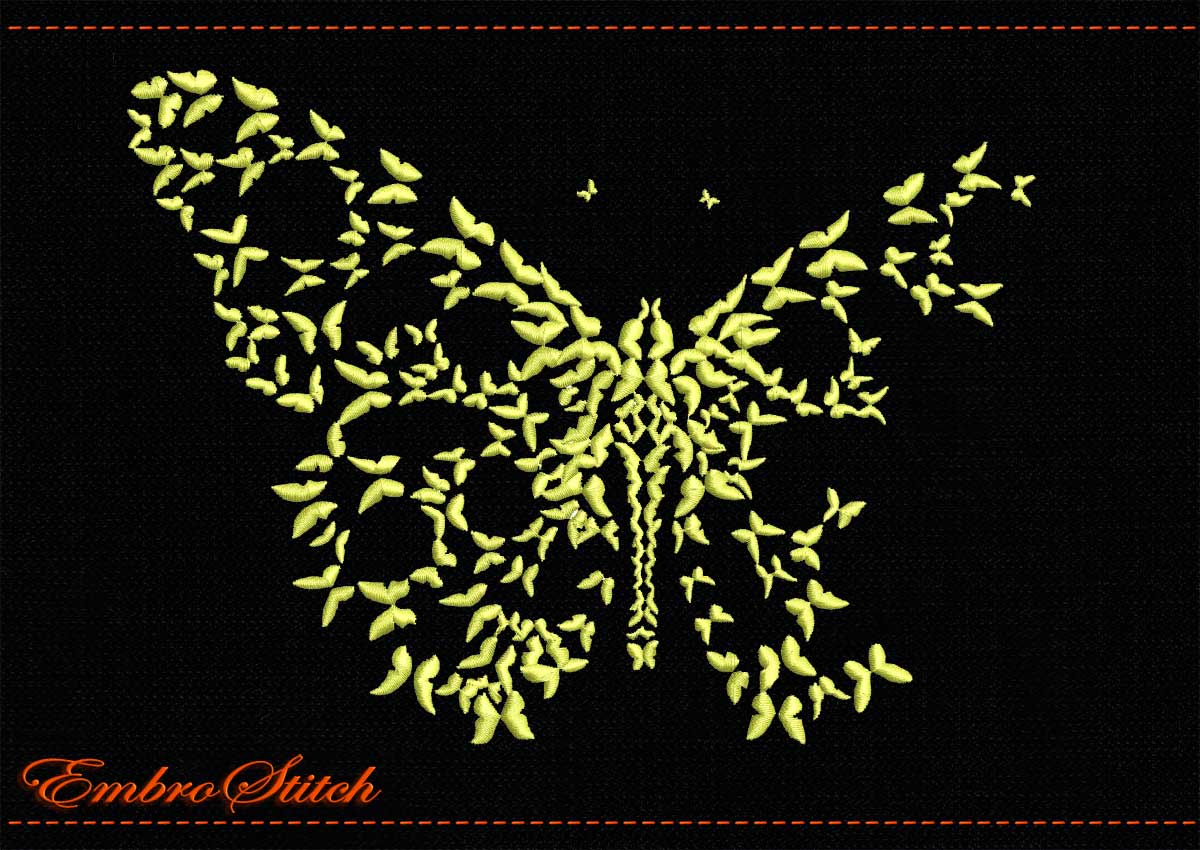 This Butterfly Butterflies Mono design was digitized and embroidered by Embrostitch studio