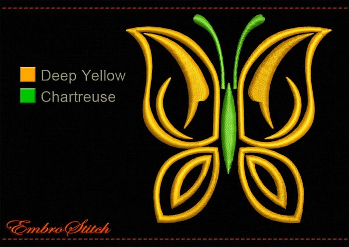 This Butterfly Golden Wings Outline design was digitized and embroidered by Embrostitch studio