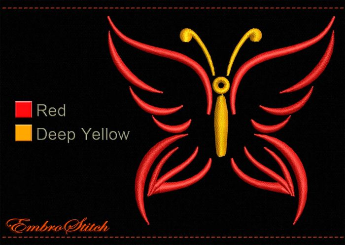 This Butterfly Red Wings Outline design was digitized and embroidered by Embrostitch studio