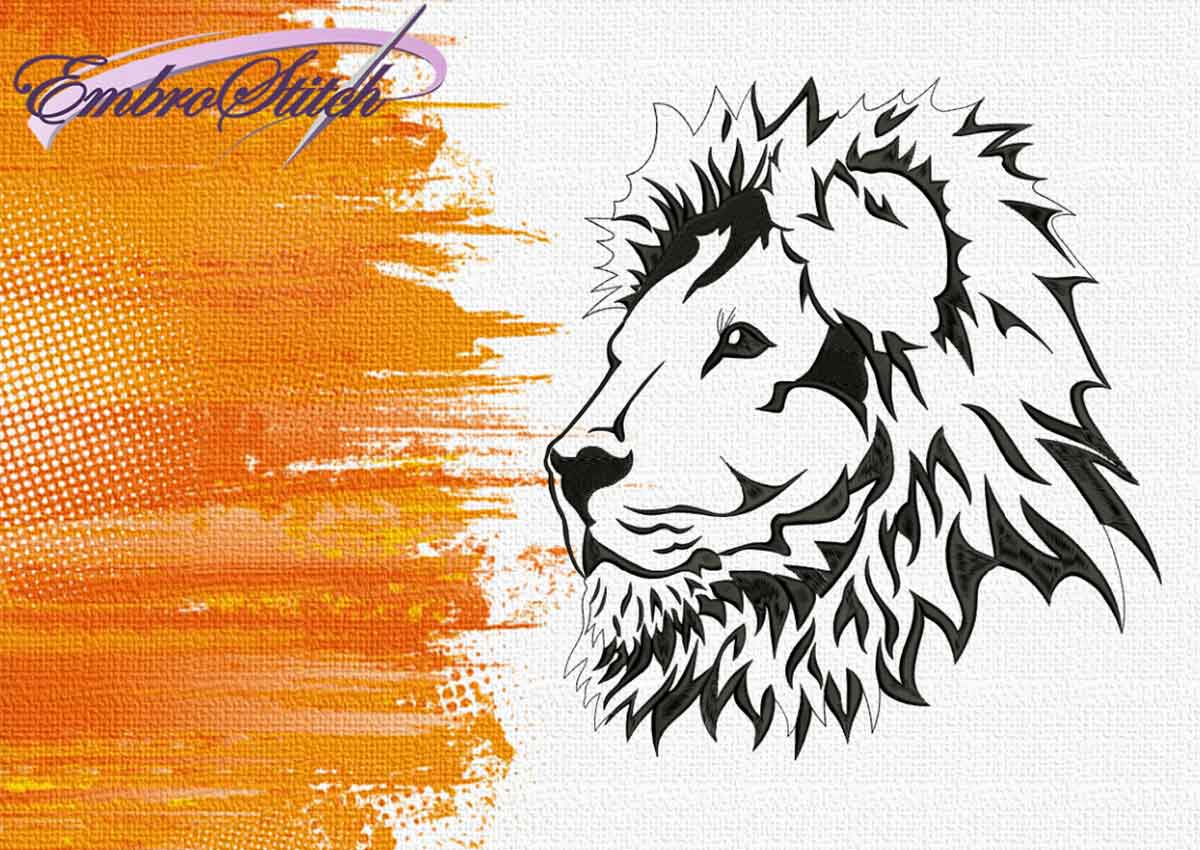The embroidery design Calm Lion by EmbroStich