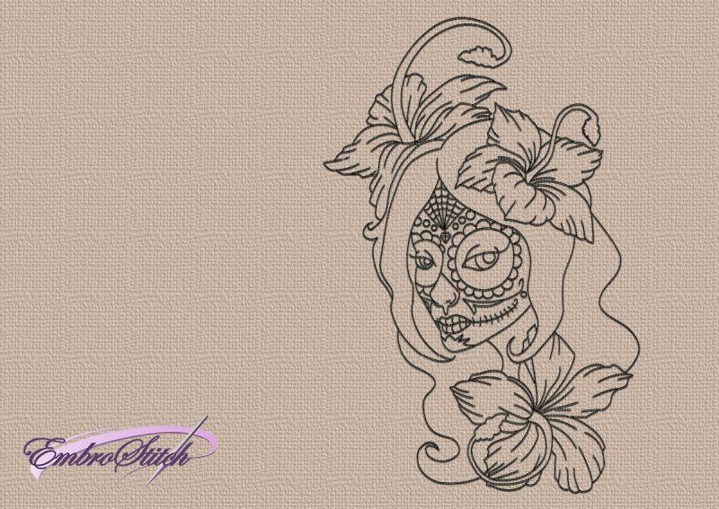 The embroidery design Carnival girl consists solely of one-colored run stitch elements.