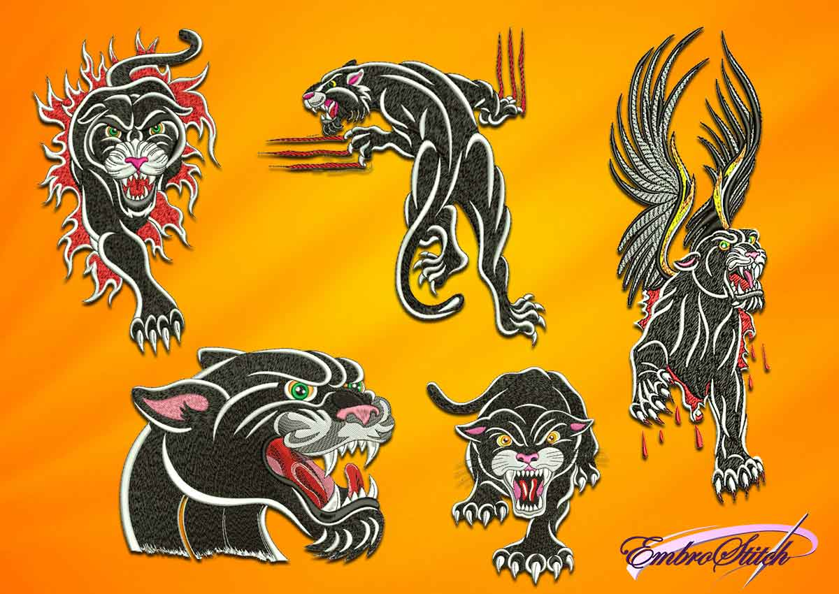 The high quality pack og embroidery design Carnivorous panthers