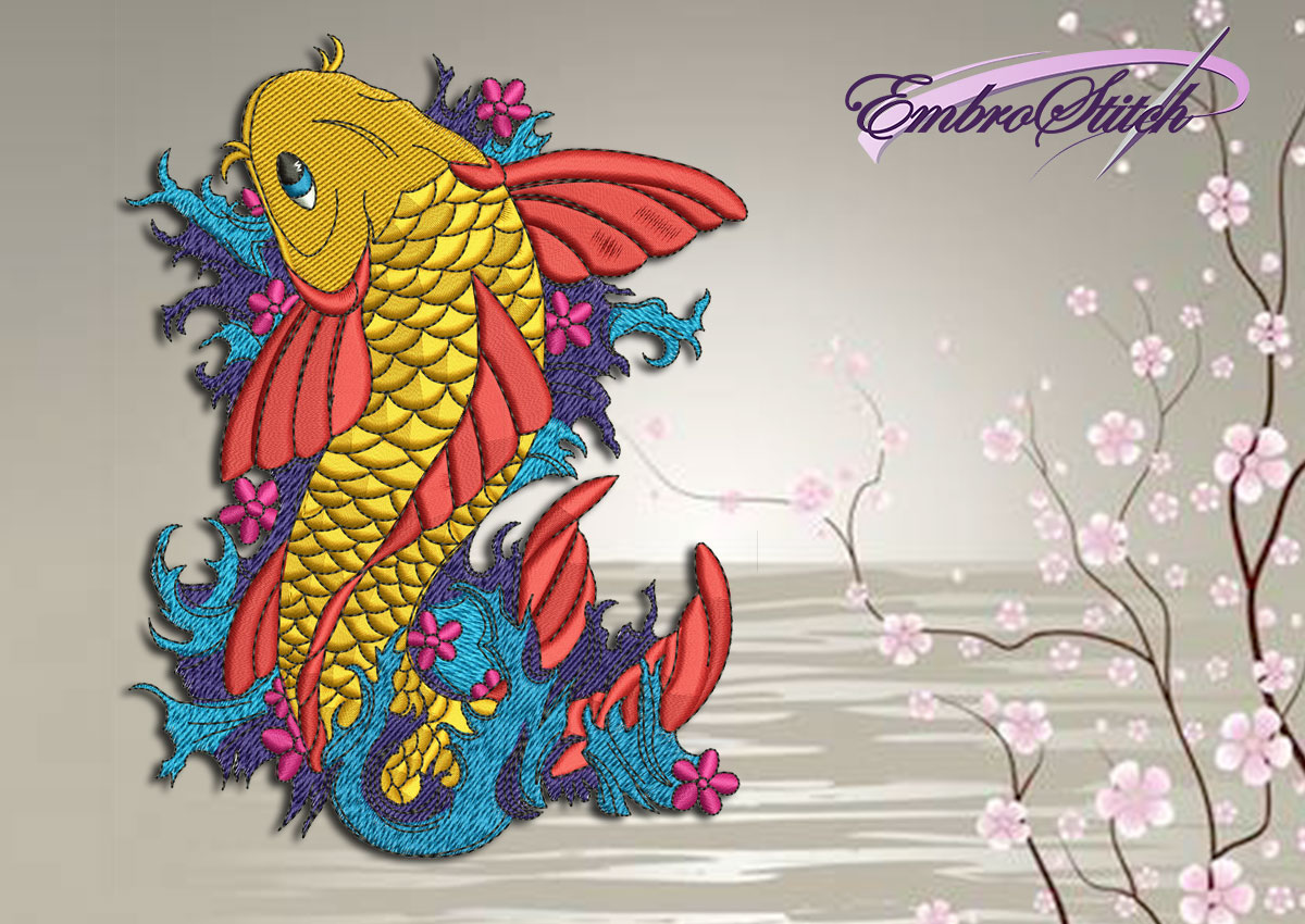 The qualitative embroidery design Carp on the waves