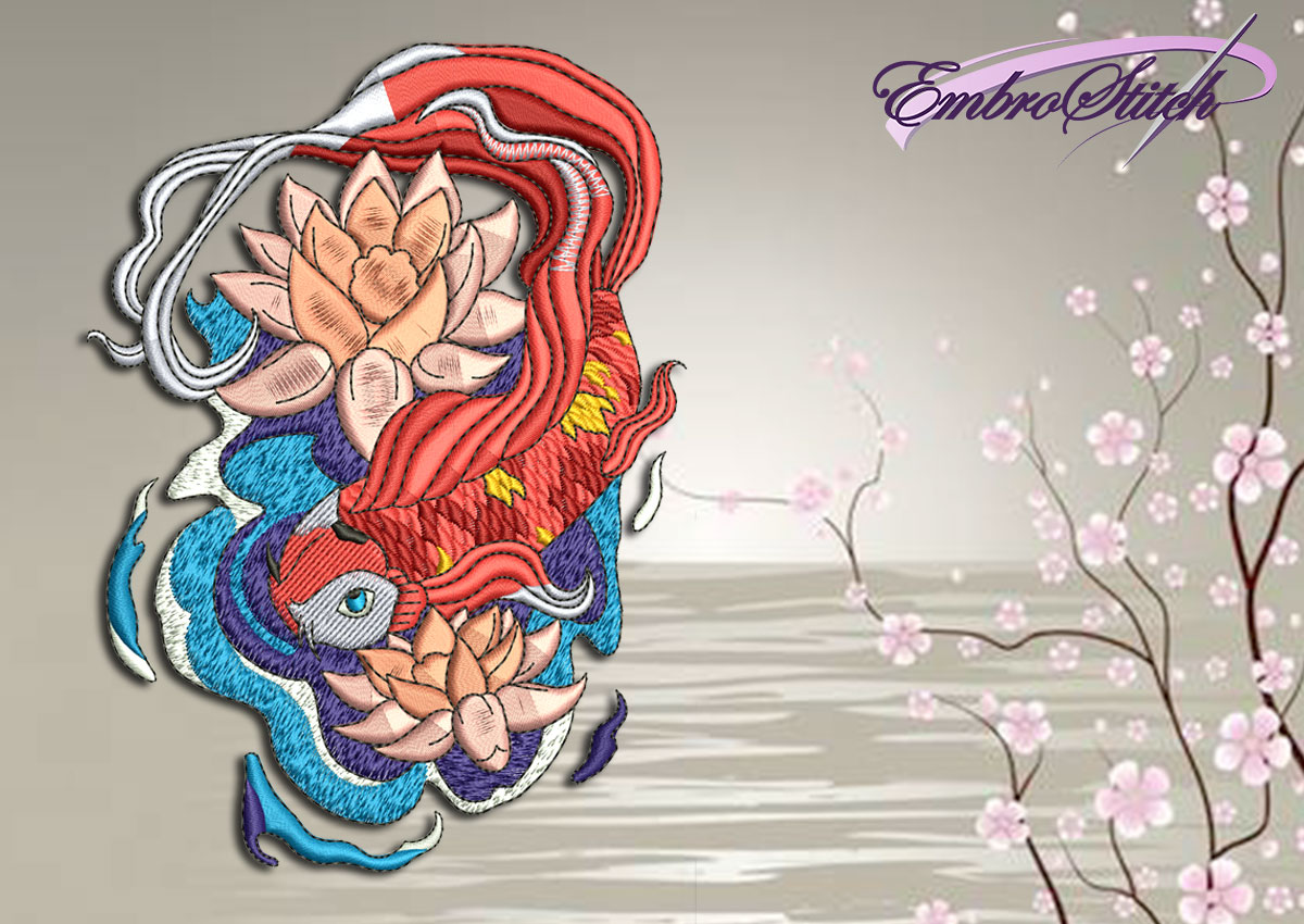 The qualitative embroidery design Carp with lotus