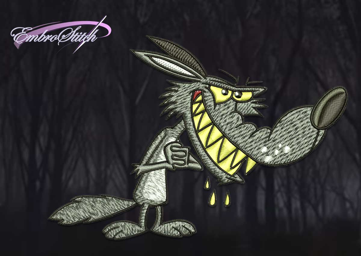 Qualitative digitization of the embroidery design Cartoon evil wolf is provided by EmbroStich team.