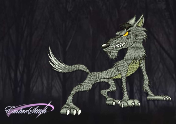 The embroidery design Cartoon standing wolf is provided with 8 embroidery formats by EmbroStich team.