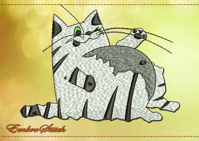 This Cat Lazy Big Paunch design was digitized and embroidered by Embrostitch studio