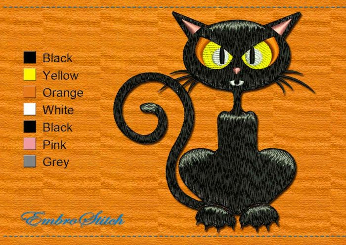 This Cat thinker Halloween design was digitized and embroidered by Embrostitch studio