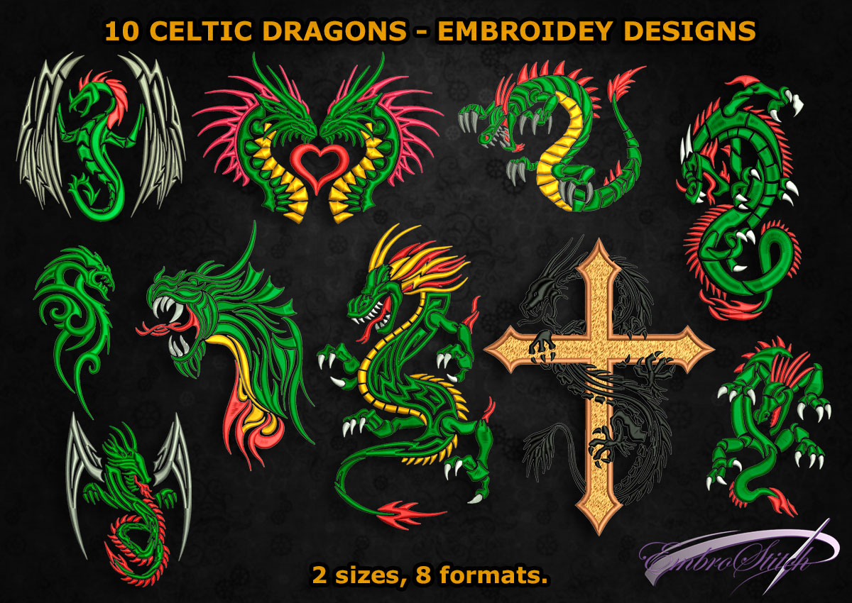 This is pack of embroidery designs Celtic Dragon