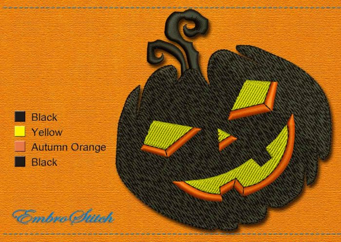 This Cheerful Pumpkin Halloween design was digitized and embroidered by Embrostitch studio