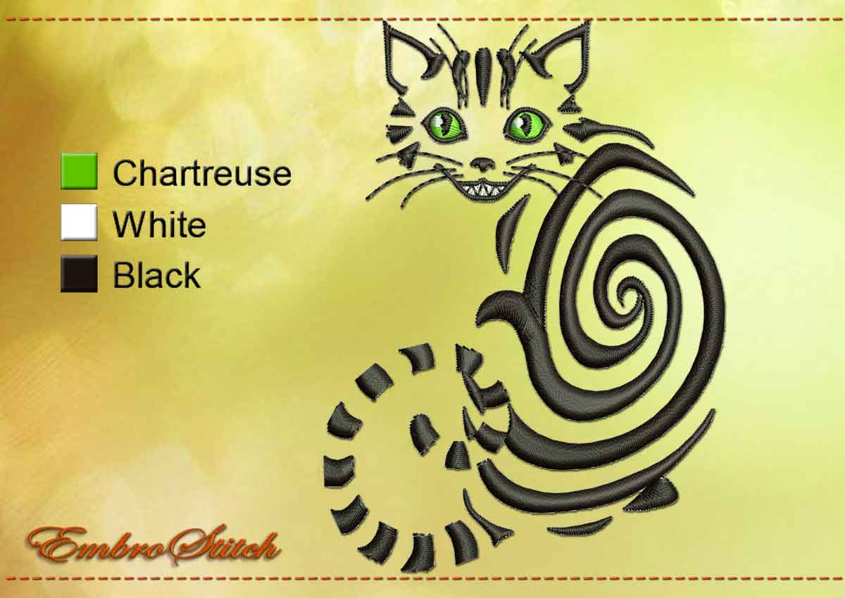 Cheshire Cat Embroidery Design 2 Sizes 8 Formats Embrostitch