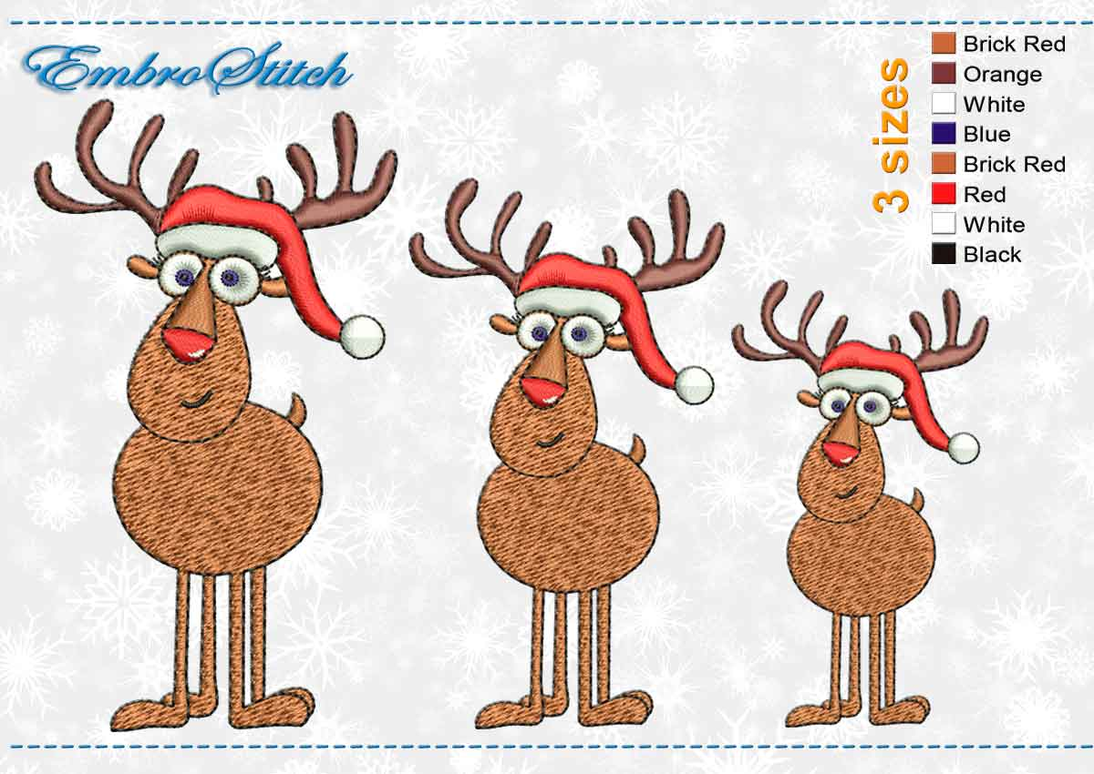 This Christmas Deer design was digitized and embroidered by Embrostitch studio