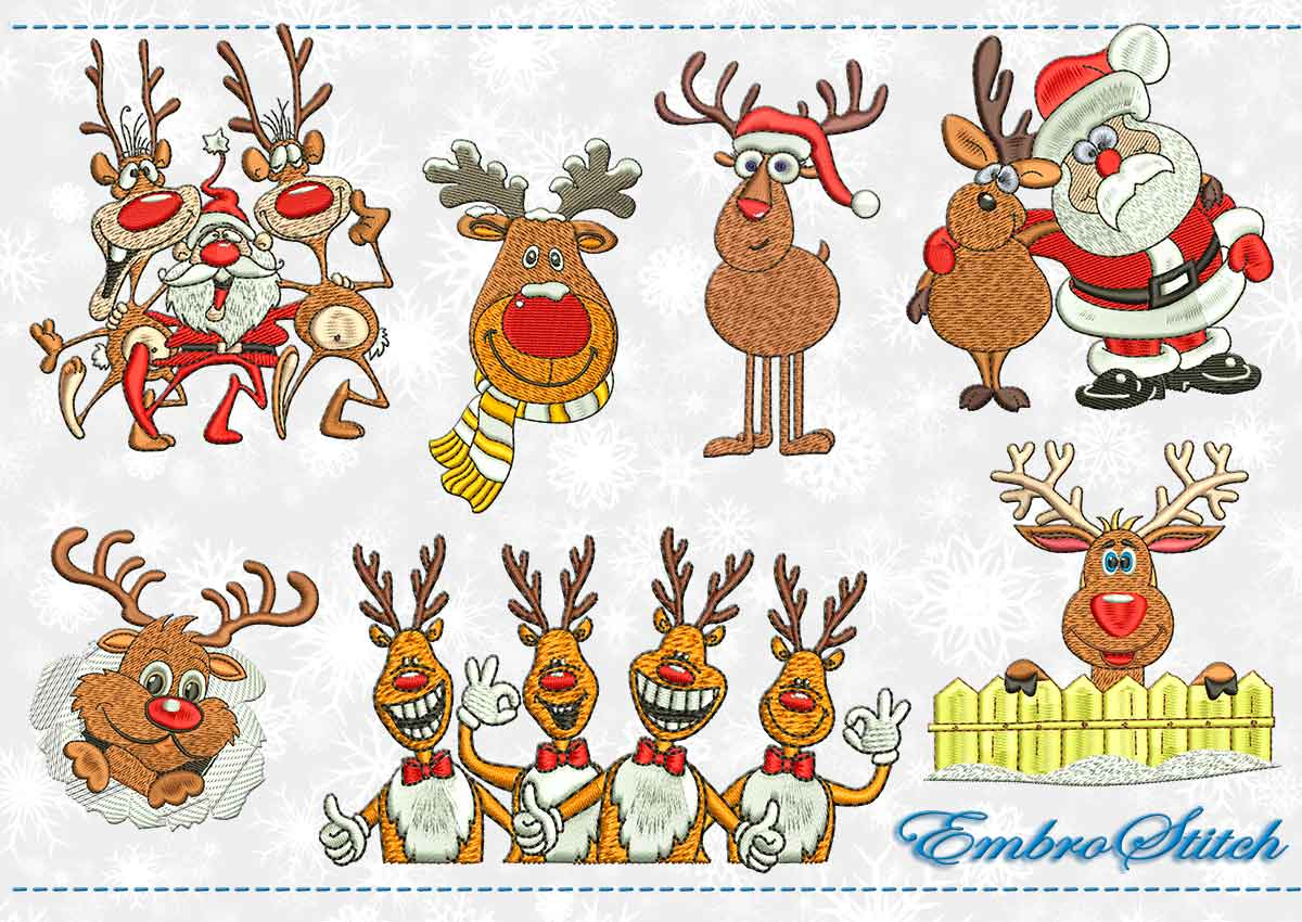 This Christmas Deer Set design was digitized and embroidered by Embrostitch studio