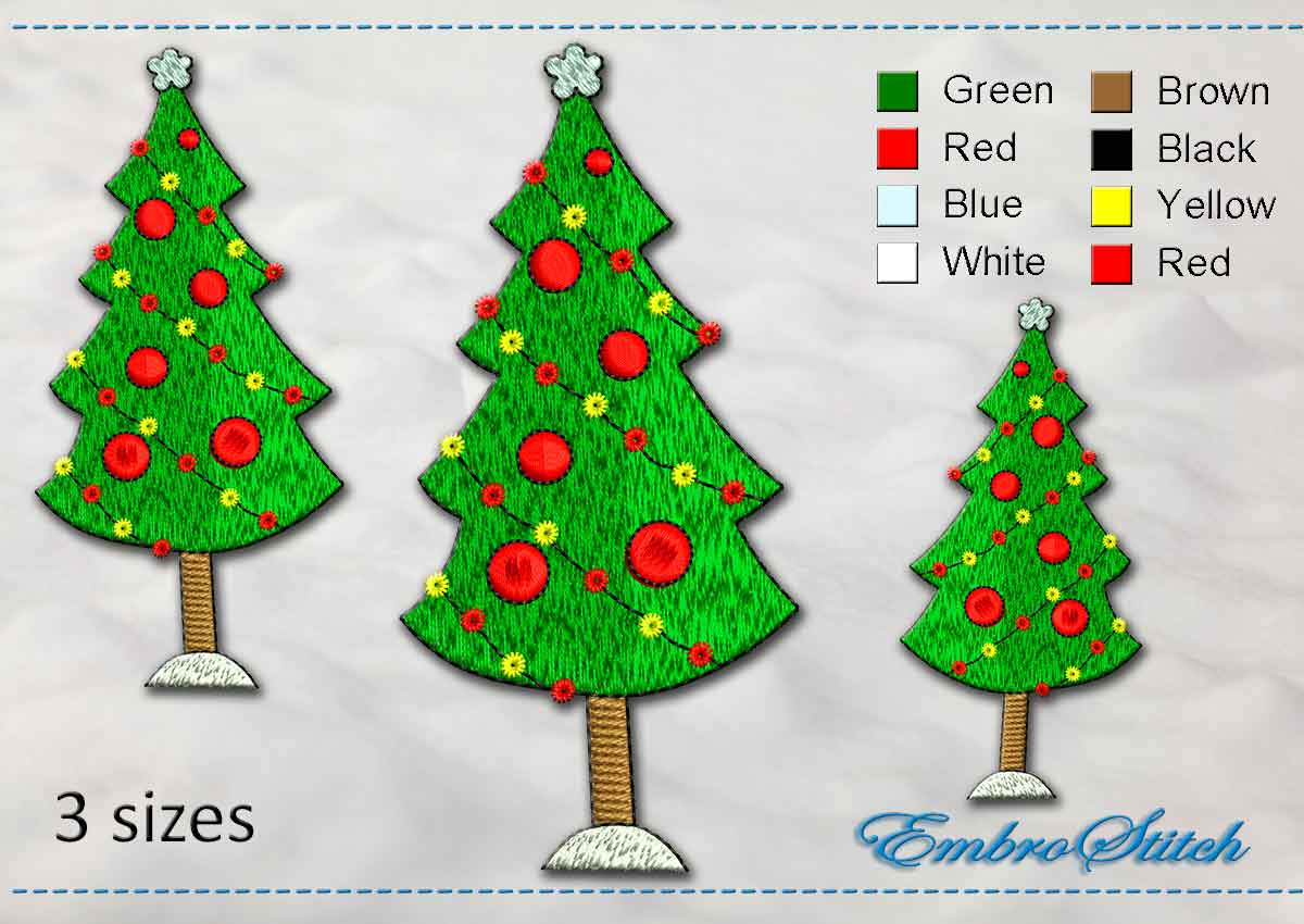 This Christmas Fir Tree design was digitized and embroidered by Embrostitch studio