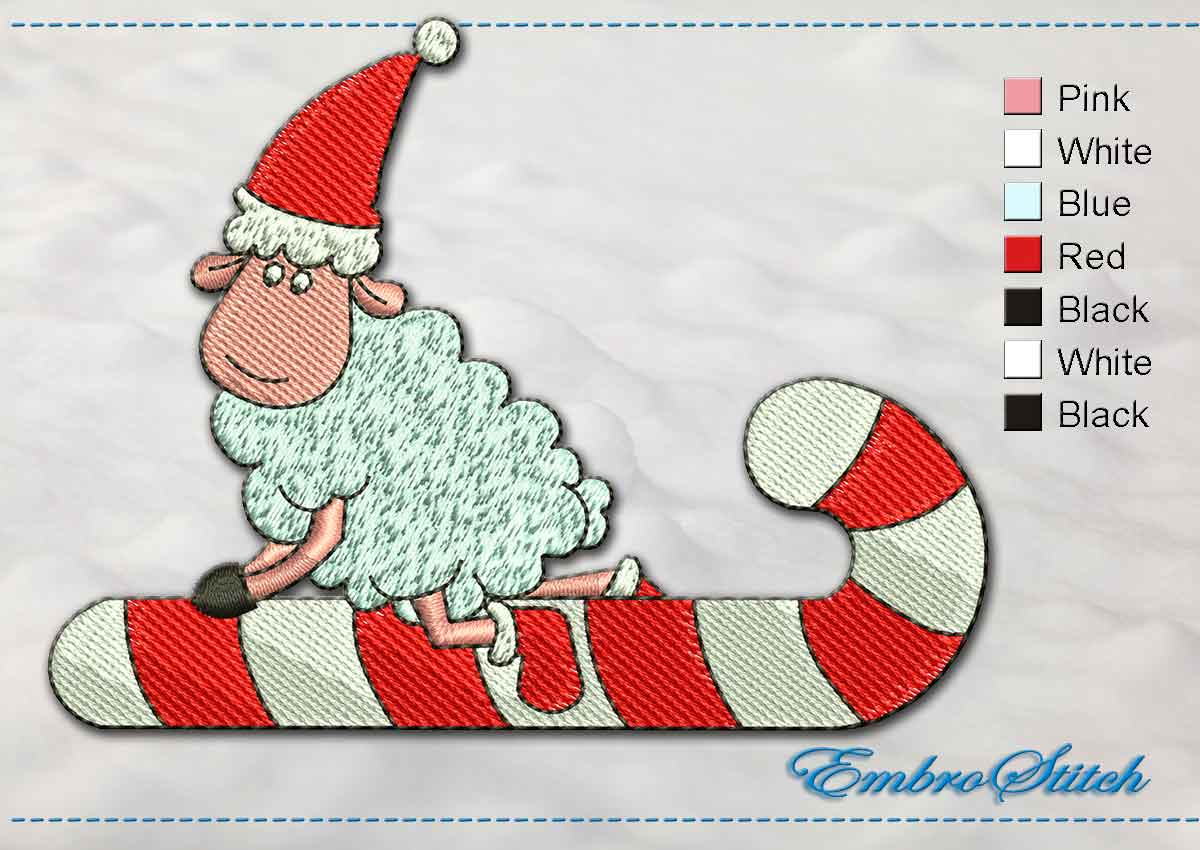 This Christmas Lamb design was digitized and embroidered by Embrostitch studio