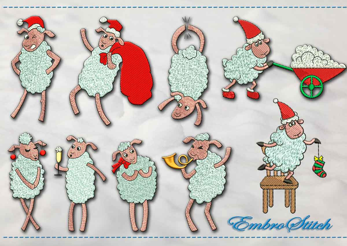 This Christmas Lamb set design was digitized and embroidered by Embrostitch studio