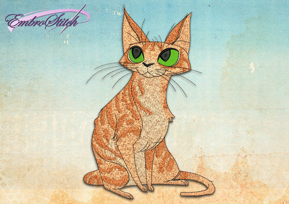 This Clever Cat design was digitized and embroidered by Embrostitch studio
