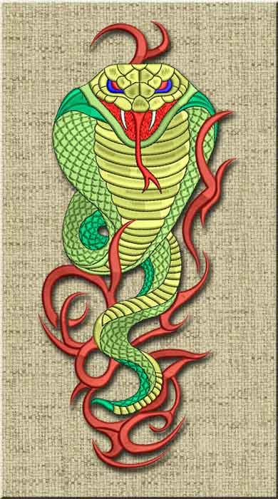 cobra embroidery design